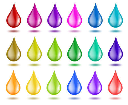 Set of color drops on white. vector illustration