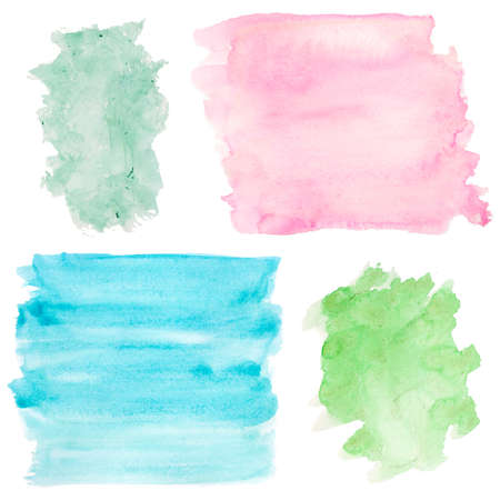 fondos azules: set of watercolor backgrounds on white. pink, blue, green colors Foto de archivo