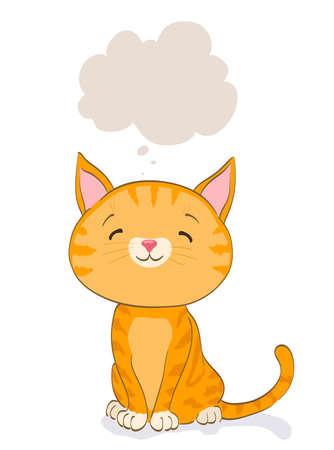 cute little cat thinking. cartoon orange tabby kitten and bubble. vector illustration