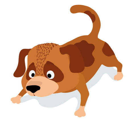 cute cartoon dog sniffing. vector illustration