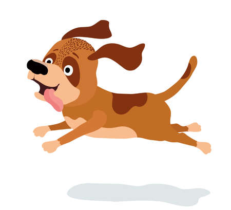 Karikaturhund, der auf Weiß läuft. Vektor-Illustration Standard-Bild - 80330321