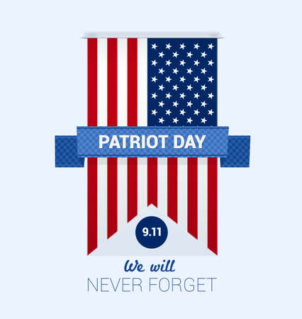 9.11 Patriot Day with USA flag design template vector Vettoriali