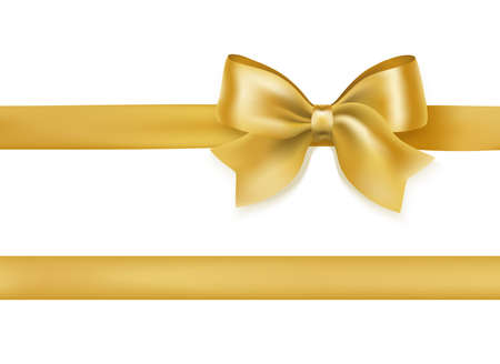 golden bow knot and ribbon on white. decorative design element for celebration greeting and invitation cards. vector