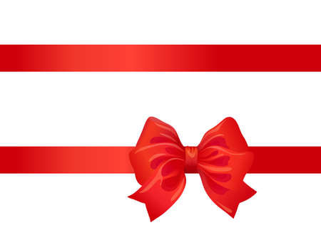 red bow and ribbon on white. decorative design element for celebration greeting and invitation cards. vector
