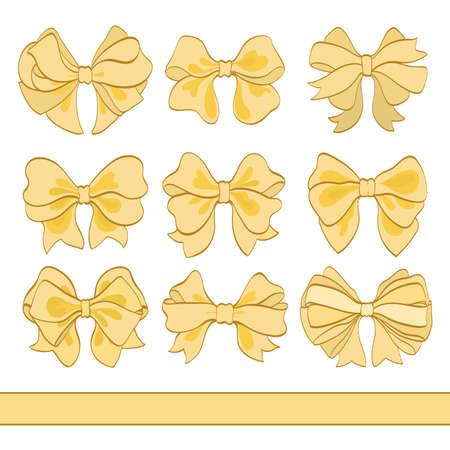 흰색에 황금 활의 집합입니다. 손으로 그려진 된 벡터 일러스트 레이 션. 축하 카드 및 초대 카드 만화 디자인 요소