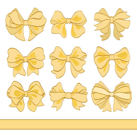 set of golden bows on white. hand drawn vector illustration. cartoon design elements for your celebration and invitation cards