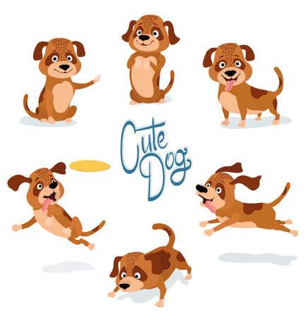 Cute cartoon dog set of poses on white vector illustration