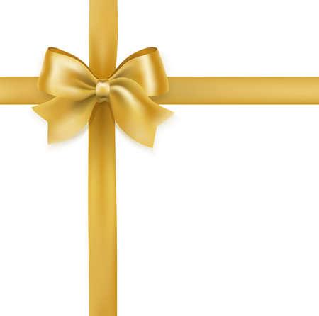 Golden tied bow vector illustration on white.