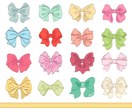 Set of various color tied bows on white vector illustration Illustration