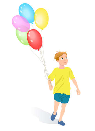 Cartoon young boy running and holding balloons isolated on white. Иллюстрация