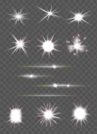 빛의 집합과 투명도 배경 벡터 일러스트 레이 션 위에 스파클링 광선 렌즈 플레어