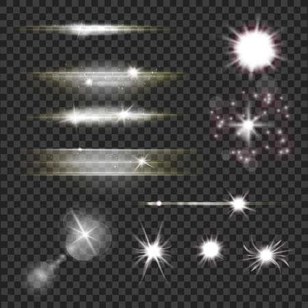 렌즈 플레어 및 빛의 집합 스파클링 입자와 광선 및 투명 어두운 배경 위에 광선.