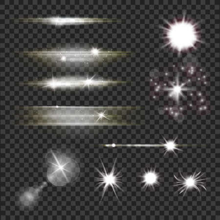 Set of lens flares and light flashes with sparkling particles and rays over transparent dark background.
