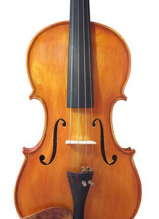 바이올린 화이트 격리입니다. 나무 고전 악기 스톡 콘텐츠