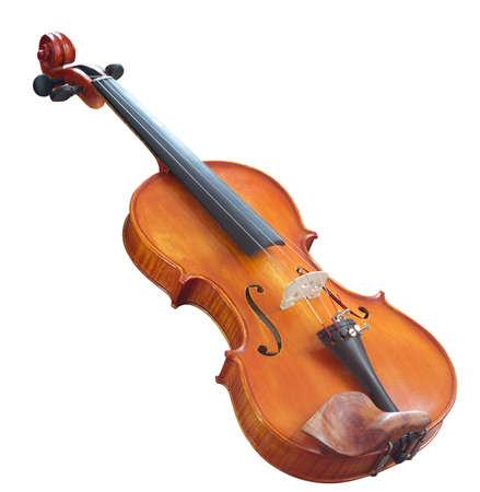 classical violin isolated on white. wooden musical instrument Stock Photo
