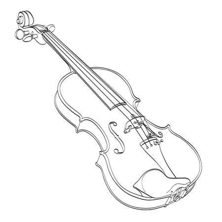 dibujo del contorno del violín en blanco. mano dibuja la línea de contorno del instrumento musical de madera