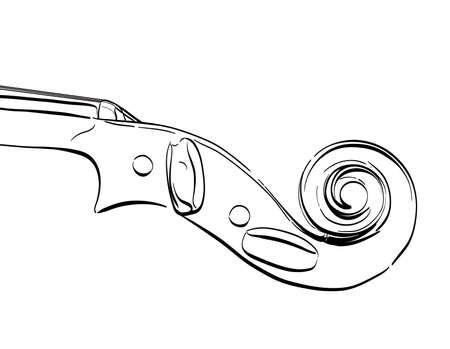 hand drawn violin neck illustration. vector contour drawing of part of musical instrument Иллюстрация