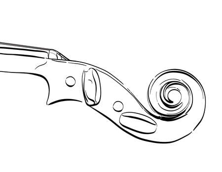 hand drawn violin neck illustration. vector contour drawing of part of musical instrument Illustration