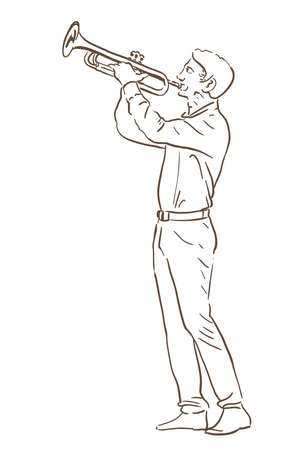 Young man playing trumpet hand drawn illustration. line sketch Illustration