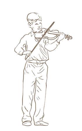 어린 소년 바이올린 라인 스케치 드로잉을 재생합니다. 바이올리니스트의 손으로 그려진 그림