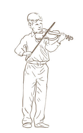 Young boy playing violin line sketch drawing. hand drawn illustration of a violinist