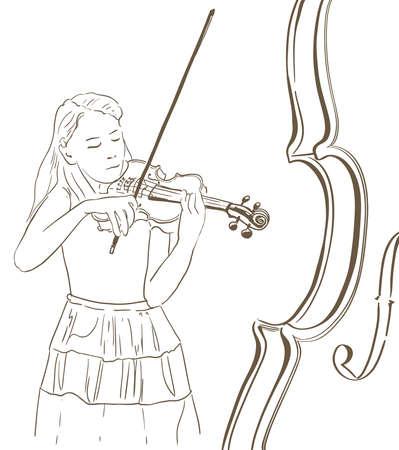 젊은 여자가 바이올린 라인 스케치 그림을 재생합니다. 바이올리니스트의 추상 손으로 그려진 그림