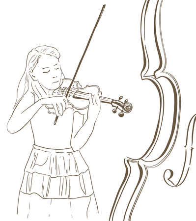 Young woman playing violin line sketch illustration. abstract hand drawn illustration of a violinist Illustration