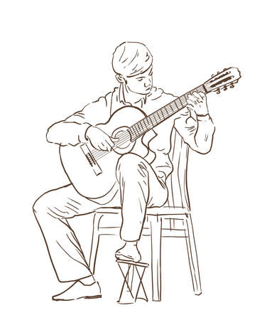 Young man playing classical cutaway guitar sitting on a chair. hand drawn illustration. line sketch