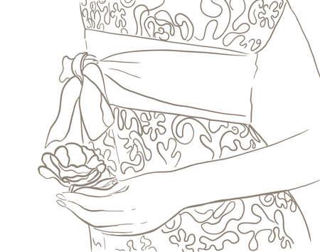Bride holding a flower in hand. line sketch drawing Иллюстрация