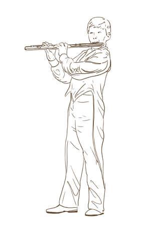플루트 라인 스케치 재생 소년입니다. 바람 악기 연주 젊은 음악가의 손으로 그린 그림