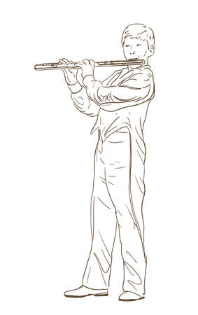 woodwind: Boy playing flute line sketch . hand drawn illustration of young musician playing wind musical instrument Illustration