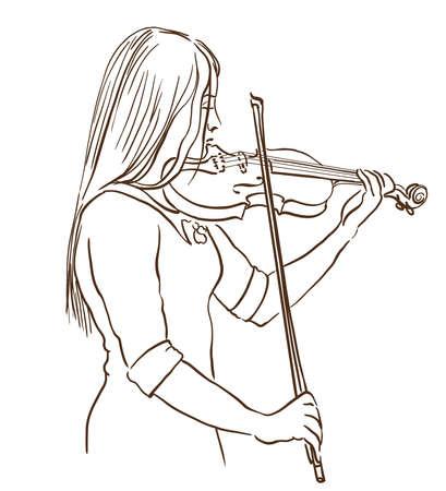 젊은 여자 바이올린 라인 스케치 드로잉을 재생합니다. 바이올리니스트의 손으로 그려진 그림