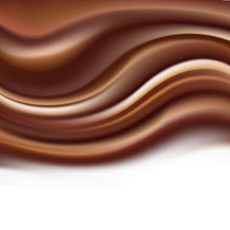 Chocolate abstract creamy brown waves flowing illustration on dessert theme. Illustration