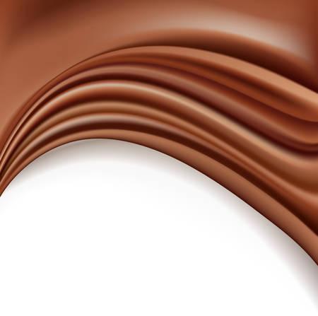 흰색 배경에 녹는 소프트 크림 파도와 초콜릿 배경. 벡터 일러스트 레이 션.