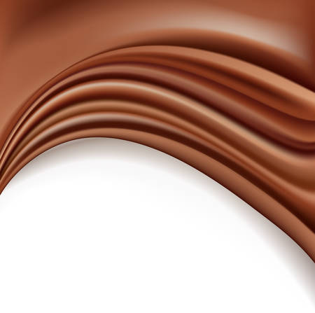 Chocolate background with soft creamy waves melting on white background. vector illustration. Illustration