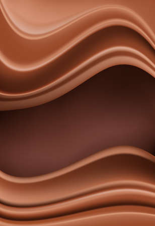 Chocolate vertical background with soft creamy waves as borders on brown. vector illustration.