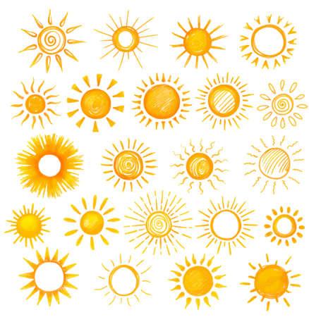 화이트 그리기 태양 세트