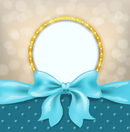 light blue bow and ribbon and golden frame with bulbs. decorative design element background for celebration greeting, photo album collage and invitation cards. vector Illustration