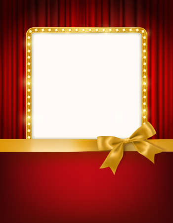 golden frame with light bulbs, cinema theater red curtains and a bow and ribbon border holiday design template background. vector illustration