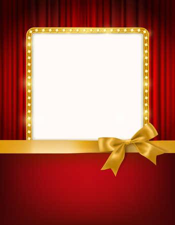 Goldener Rahmen mit Glühlampen, roten Vorhängen des Kinotheaters und einem Bogen- und Bandgrenzfeiertagsdesign-Schablonenhintergrund. Vektor-Illustration Standard-Bild - 86200127