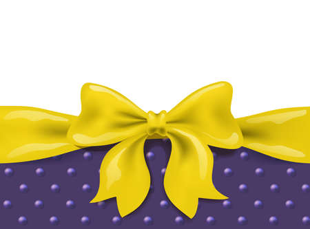 golden yellow bow and ribbon border on white and violet background. vector illustration