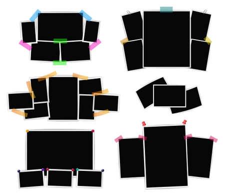 De collage van fotokaders op witte achtergrond wordt geplaatst die. Vector ontwerpsjablonen voor retroafbeeldingen, foto's, album, kaarten