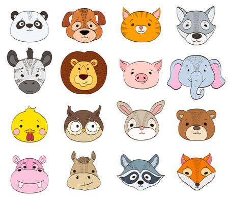 화이트 만화 동물 얼굴의 집합입니다. 아기 동물 기호 드로잉 벡터 일러스트 레이 션