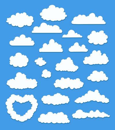 파란색 만화 구름의 집합입니다. 벡터 일러스트 레이 션