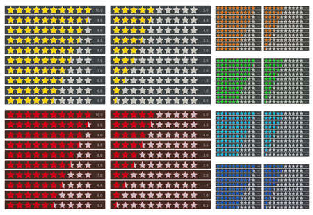 stars rating vector design with various colors