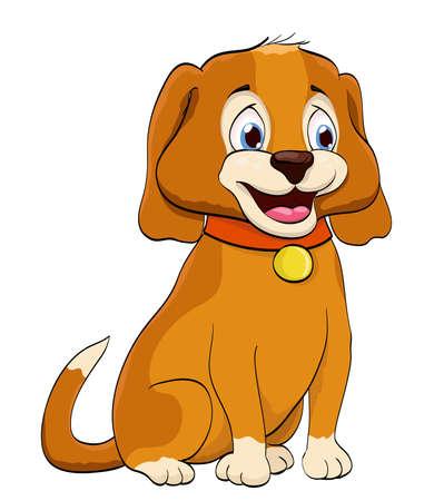 cartoon smiling puppy dog with collar on white. vector illustration Иллюстрация