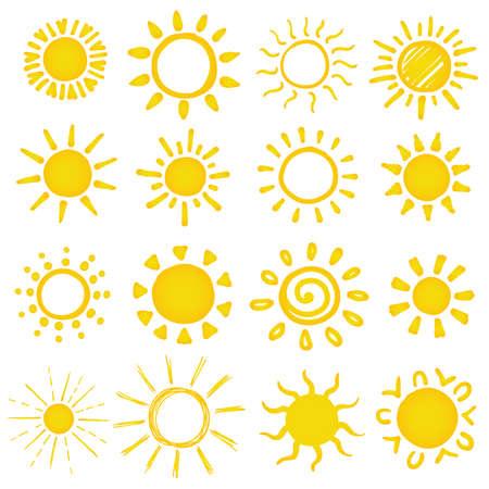 set of hand drawn sun on white. vector illustration