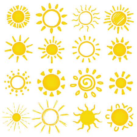 set of hand drawn sun on white. vector illustration