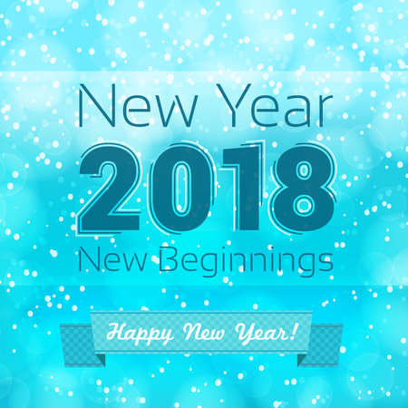 happy new year new beginnings text on snowing background. vector design template