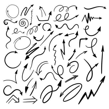 set of black arrows on white. hand drawn vector illustration Иллюстрация